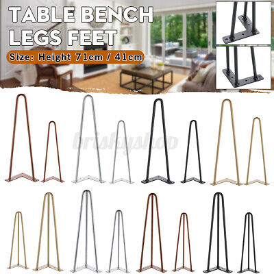 4 X Hairpin Table Legs Dining Coffee Bench Furniture+ FREE Screws & Protector UK • 26.99£