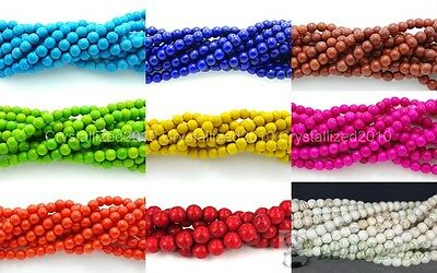 $ CDN2.45 • Buy Howlite Turquoise Gemstone Round Loose Beads 2mm 3mm 4mm 6mm 8mm 10mm 12mm 16
