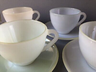 1950s Arcopal Harlequin Pastel Colours Cups And Saucers X4 • 15£