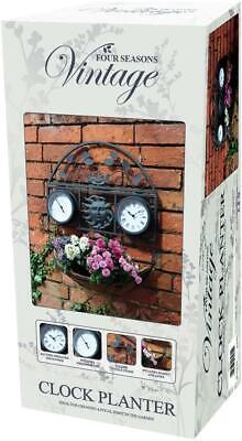 Outdoor Indoor Garden Wall Clock Thermometer With Plant Holder • 32.49£