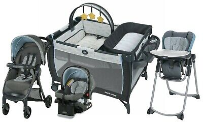 Graco Baby Travel System With Car Seat Nursery Playard High Chair Set • 361.78£
