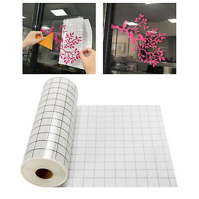Clear Vinyl Transfer Paper Tape Roll Black Alignment Grid 12 X 60inch For Cricut • 6.52£