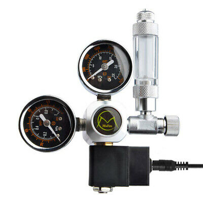 Dual Gauge Aquarium CO2 Regulator W/ Solenoid Bubble Counter W21.8 EU Plug • 32.01£