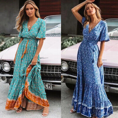 AU22.99 • Buy Women Boho Beach Short Bell Sleeve Floral V-neck A-line High Waist Maxi Dress