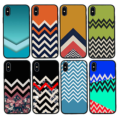 CHEVRON BLOCK | Protective Glass Case/Cover For IPhone 6 6s 7 8 PLUS X XS Max XR • 5.99£