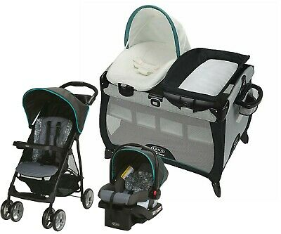 Graco Baby Stroller With Car Seat Travel System Set Nursery Playard Combo • 274.95£