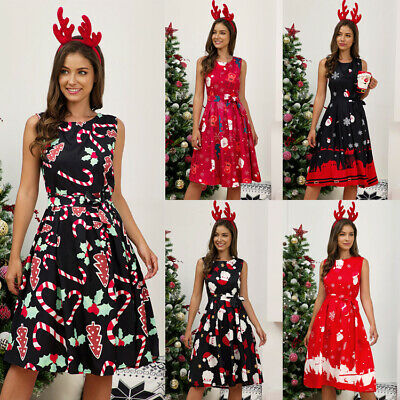AU19.99 • Buy Women Ladies Dress Christmas Summer Sleeveless Casual Fashion A Line Dress Party