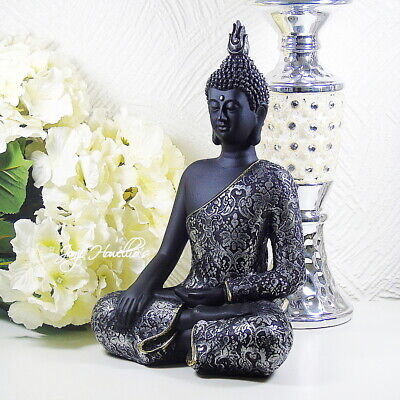 Large THAI BUDDHA Meditating Black & Silver Ornament Figurine Statue Home 28 Cm • 24.90£