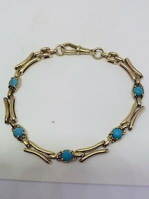 £550 • Buy Vintage 9ct Yellow Gold 2 Bar Gate Bracelet With Turquoise- 8 Inches