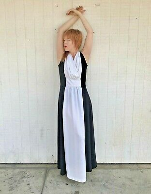 AU153.03 • Buy Vintage 70s Maxi Dress Black And White Disco Clothing Studio 54 Clothes