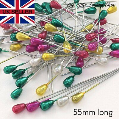 £2.20 • Buy 55mm Long Pearl Headed Pins Florists Sewing Knitting 6 Colours Pack Of 15