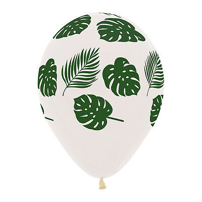 10 X Tropical Palm Leaf Balloons Helium Or Air Luau Hawaiian Party Decoration WH • 3.99£