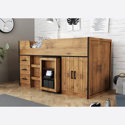 £689 • Buy Rustic Country Oak Childs Mid Sleeper Bed With Pull Out Table & Storage Drawers
