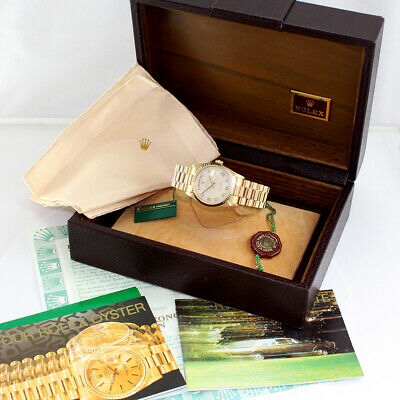 $ CDN20371.54 • Buy Rolex President Day Date 18238 Ivory Pyramid Roman 18K Gold Box Papers 1987