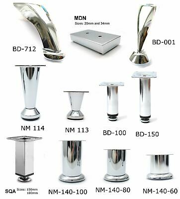 Chrome Feet Plinth Steel Legs For Furniture Cabinet Furniture Sofa Beds • 6.71£