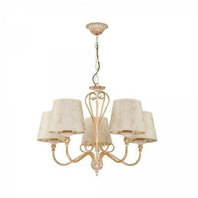 £92.99 • Buy Sofia -5 Way Ceiling Pendant Light Chandelier & Shades  In Cream And Gold Finish