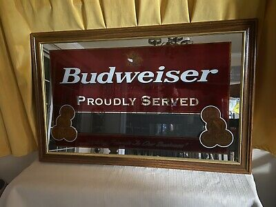 "$ CDN221.50 • Buy Budweiser Beer ""proudly Served"" Framed Mirror Sign 21"" X 33"""