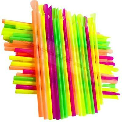 Spoon Straws Slush Smoothies Milk Shakes Snow Cones Neon Scoop Straw Mixer UK • 3.49£