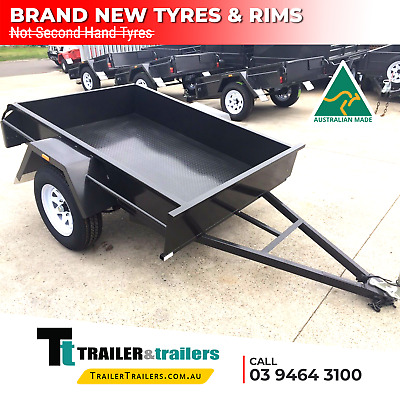 AU960 • Buy 6x4 SINGLE AXLE HEAVY DUTY BOX TRAILER | FIXED FRONT | CHECKER PLATE | New Tyres