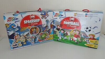 2 No. 3D Puzzles My First Football & Spaceship Puzzles 45 Pieces 29x39cm New • 10£