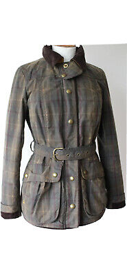 Joules  Milburychk  Ladies Fab Casual Brown Check Wax Cotton Jacket Coat Size 8 • 64.99£