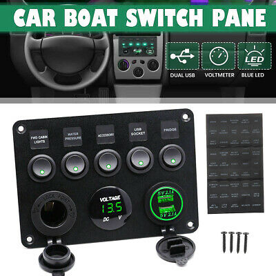 AU27.40 • Buy 5 Gang 12V Switch Panel Car Boat ON OFF Toggle Dual USB Socket Charger
