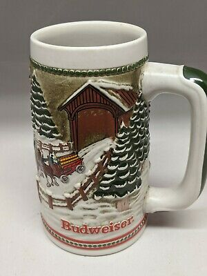 $ CDN22.25 • Buy Vintage 1984 Budweiser Holiday Stein Covered Bridge Hitch Passing