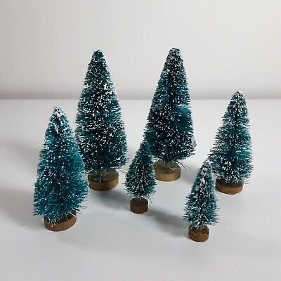 Ornamental Christmas Trees X 6. Cake Toppers, Christmas Village, Mantlepiece • 5.99£
