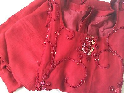Indian Pakistani Bollywood Party Wedding Trouser Suit Chiffon Red Small S • 30£