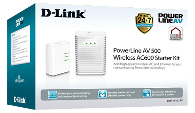 AU99 • Buy Brand New D-Link PowerLine AV500 Wireless AC600 Starter Kit AU Stock W/Warranty