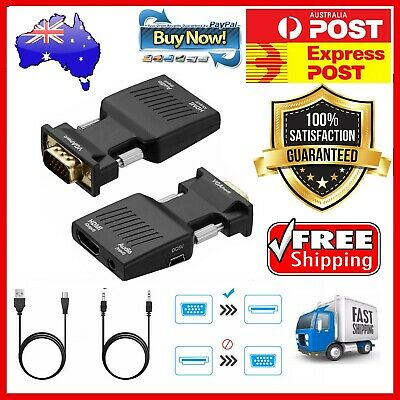 AU14.80 • Buy HDMI TO VGA HDMI Female To VGA Male Converter Adapter W/ Audio Support 1080P 4K