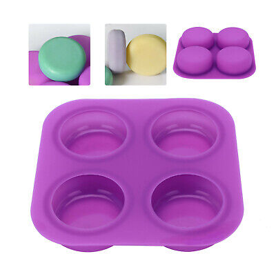 4 Silicone Round Chocolate Cake Soap Jelly Ice Tray Wax Mold Baking Mould • 5.29£