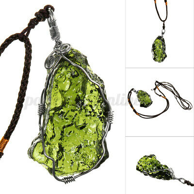 MECO Natural Green Stone Energy Necklace Meteorite Mineral Pendant Czech UK • 7.99£