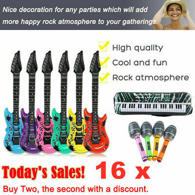 16pc Inflatable Music Instruments Guitar/Microphone/SAXOPHONE COLOURFUL BLOW UP • 9.49£