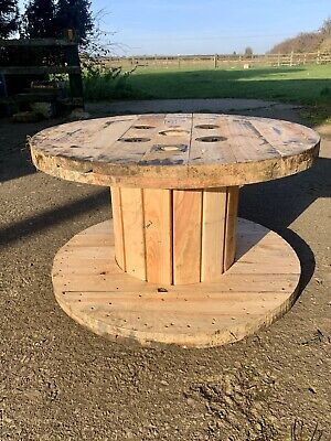 Medium Wooden Cable Reel / Drum / Spool Upcycled Industrial Coffee Table • 25£