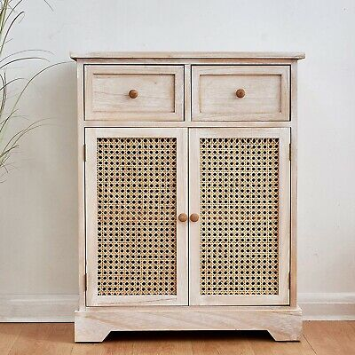 Cherry Tree Furniture REGA Rattan Cane & Paulownia Wood 2-Drawer 2-Door Cabinet • 129£