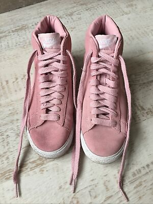 NIKE Pink Suede High Top Blazer Trainers  UK Size 4 • 10£