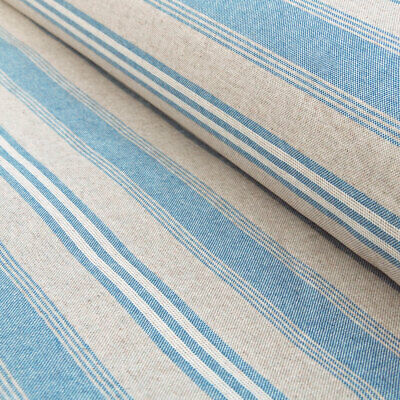 £10 • Buy French Vintage Style Faded Blue Stripe Linen Machine Washable Oilcloth