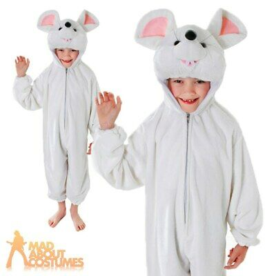 £15.99 • Buy Child White Mouse Costume Plush Cute Rat Girls Boys Kids Fancy Dress Outfit