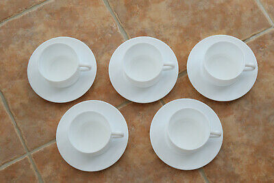 5 Coffee Cups And Saucers Milk Glass From 1970s Classic French Bistro Shape • 15£