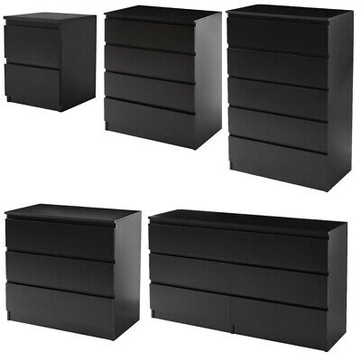 MODERN - Black Chest Of Drawers Bedroom Furniture Storage Bedside 2 To 6 Draws • 98.99£