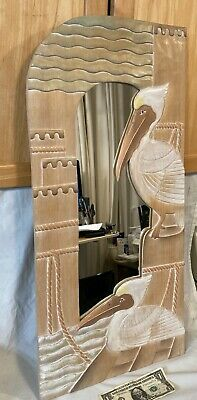 Vtg 30  Hand Carved & Painted Wooden Mirror W/ Pelicans Nautical Tropical Decor • 35.77£