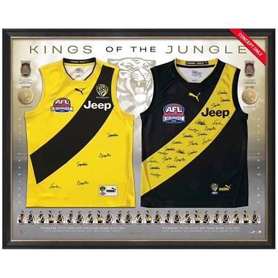 AU3995 • Buy Richmond 2017 & 2019 Premiers Dual Team Signed Official AFL Jumpers Framed