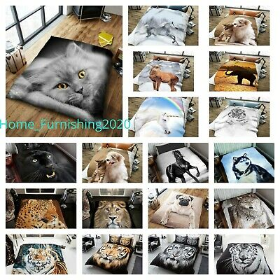 3D Animal Duvet Cover Set Single Double King Pug Dog Cat Wolf Tiger Dolphin • 17.98£