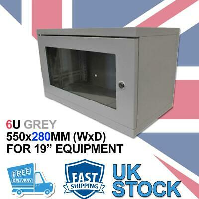 6U 19  280MM Network Cabinet Data Comms Wall Rack For Patch Panel, Switch, PDU - • 72.99£