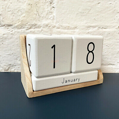 £12.99 • Buy White & Natural Wooden Square Cube Block Date Year Desk Table Perpetual Calendar