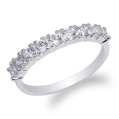 £25.41 • Buy Womens 925 Sterling Silver Round CZ Beautiful Eternity Band Ring Size 4-9