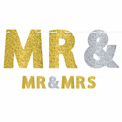 MR AND MRS Wedding Engagement Letter Banner Bridal Shower Decor Party Supplies • 4.23£