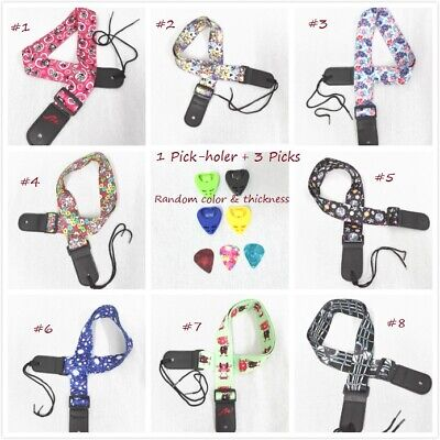 AU13 • Buy Ukulele Shoulder Strap, Multi-Pattern, Length Adjustable+3 Picks & 1 Pick-Holder