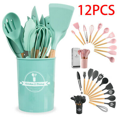 AU34.88 • Buy Set Of 12 Silicone Utensils Wooden Cooking Kitchen Baking Cookware BPA Free